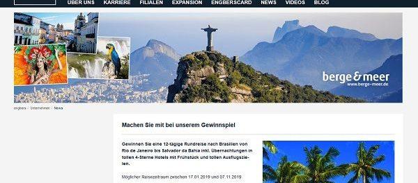 Brasilien Reise Gewinnspiel engbers 12-tägige Rundreise gewinnen
