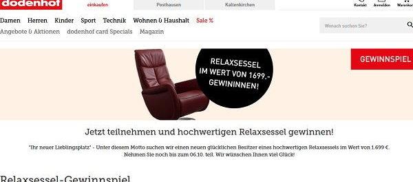 Dodenhof Gewinnspiel Relaxxsessel gewinnen