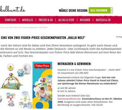 Fisher Price Babyspielsachen Gewinnspiel kribbelbunt.de