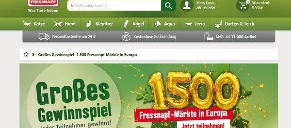 Fressnapf Gewinnspiel 1.500 Märkte in Europa