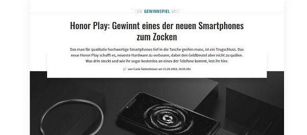 Gamez Gewinnspiel 2 Honor Play Smartphone