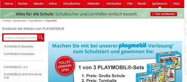 Hugendubel Playmobil Gewinnspiel