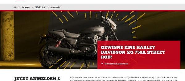 Intermot Motorrad Gewinnspiel Harley Davidson XG 750A Street Rod