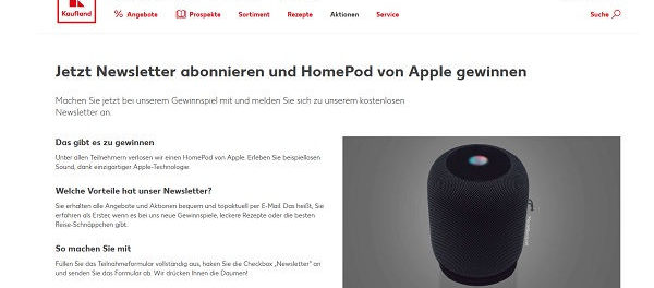 Kaufland Gewinnspiel Apple HomePod