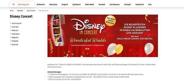 Müller Drogerie Gewinnspiel Disney in Concert Berlin Reise