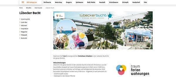 Müller Gewinnspiele 3 Familienurlaube Lübecker Bucht Verlosung