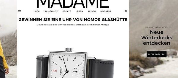 Madame Gewinnspiel limitierte Nomos Glashütte Armbanduhr
