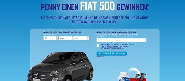 Auto Gewinnspiel Fiat 500 Penny und Wrigley Extra