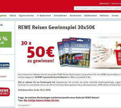 REWE Reisen Gewinnspiel 30 Einkaufsgutscheine je 50 Euro