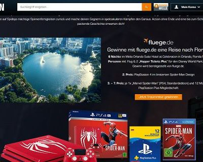 Saturn Gewinnspiel Florida Reise oder Playstation 4 Spiderman