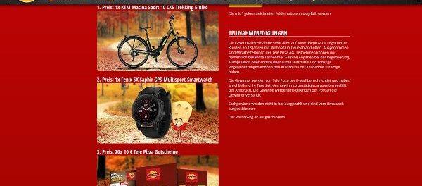 Tele-Pizza Gewinnspiel KTM E-Bike oder GPS Smartwatch