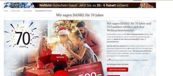Weltbild Verlag Gewinnspiel 70 mal 500 Euro Gutscheine