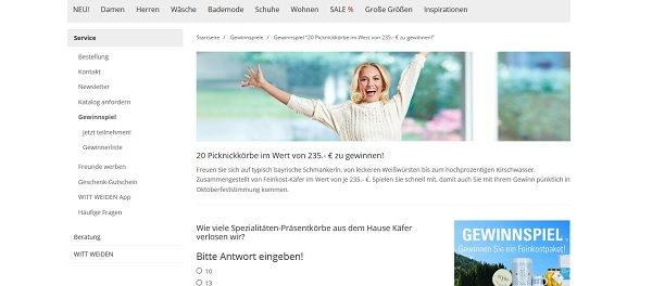 Witt Weiden Gewinnspiel 20 Picknickkörbe Käfer Feinkost