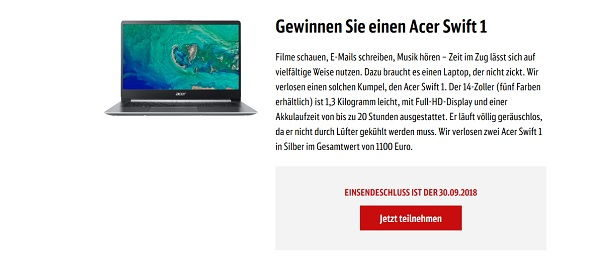 dbmobile Gewinnspiel Acer Swift 1 Notebook