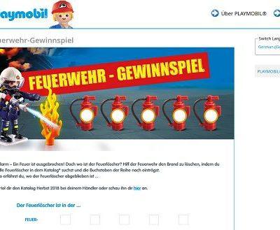 kostenloses Gewinnspiel Playmobil Feuerwehr Sets gewinnen
