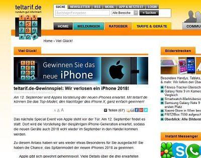 teltarif Gewinnspiel neustes Apple iPhone gewinnen