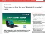 Acer Aspire Notebook Gewinnspiel bei Chip.de