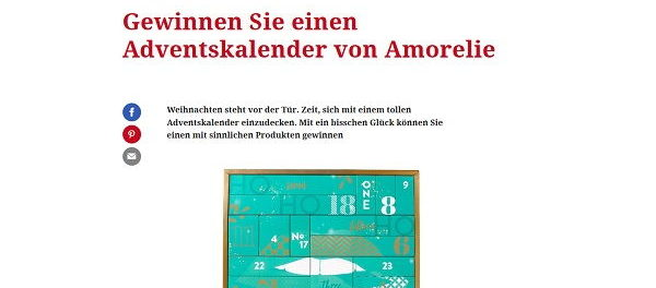Amorelie Adventskalender Gewinnspiel freundin.de