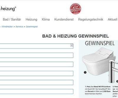 Bad und Heizung Gewinnspiel Badausstattung und Gutscheine