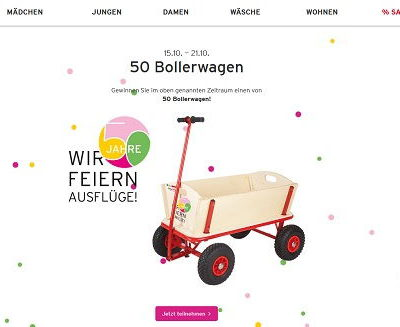 Bollerwagen Gewinnspiel Ernstings Family