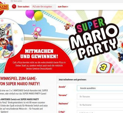 Call a Pizza Gewinnspiel Nintendo Switch Mario Party