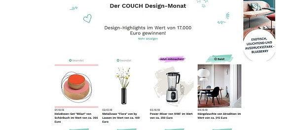 Couchstyle Gewinnspiel Design-Monat Preise Wert 17.000 Euro