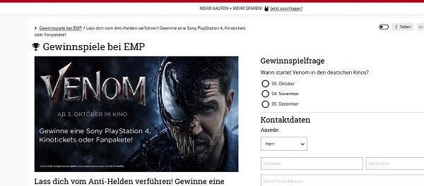 EMP Gewinnspiel Sony PS 4 und Kinokarten Venom