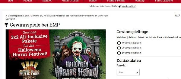EMP Versand Gewinnspiel Halloween Horror Festival Movie Park Germany