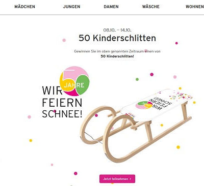 Ernstings Family Gewinnspiel 50 Kinderschlitten