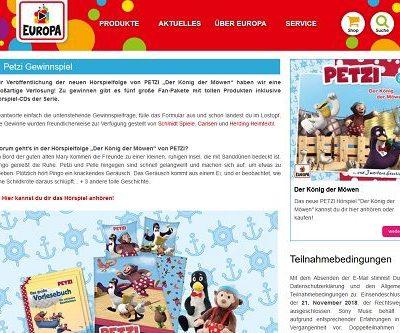 Europa Verlag Gewinnspiele Petzi Fanpakete für Kinder