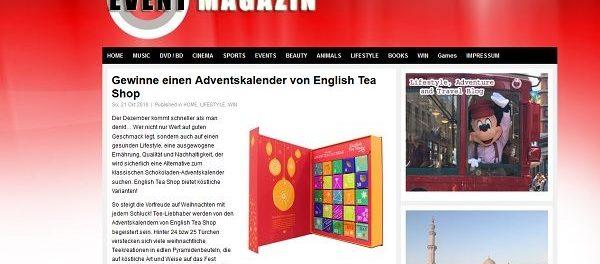 Event Magazin Adventskalender-Gewinnspiel Tee-Kalender