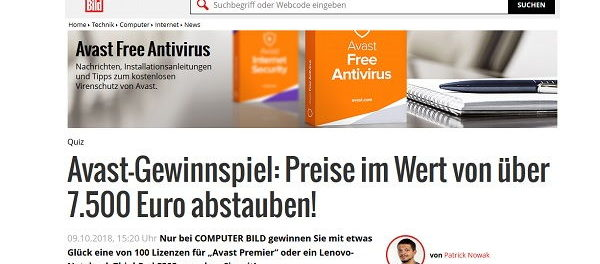 Gewinnspiel Computer Bild und Avastt Sachpreise 7.500 Euro