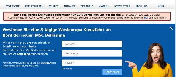 Kreuzfahrtberater Gewinnspiel Westeuropa Kreuzfahrt MSC Bellisima