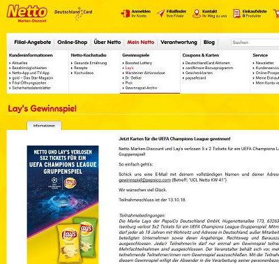 Netto Marken Discount Gewinnspiel Lay´s UEFA Champions League Karten