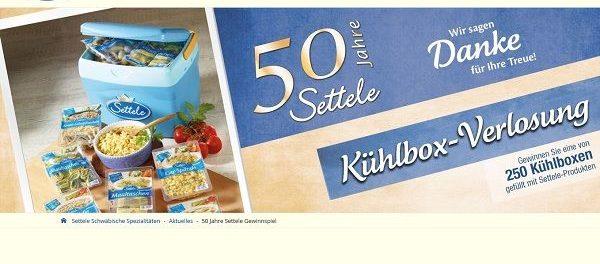 Settele Gewinnspiel 250 Kühlboxen mit Produkten