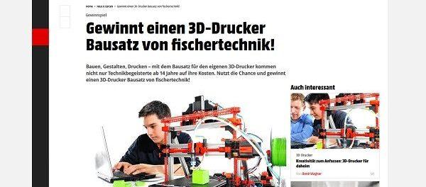 Smart Wohnen Gewinnspiel 3D Drucker Bausatz Fischertechnik