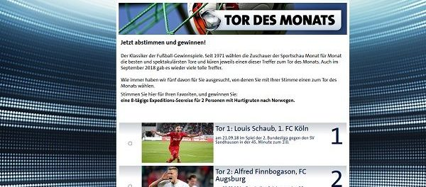 Sportschau Gewinnspiel Tor des Monats Hurtigruten Seereise