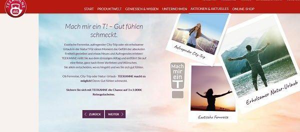 Teekanne Gewinnspiel 3 Reisegutscheine je 2.000 Euro