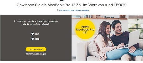 Vattenfall Gewinnspiel Apple MacBook Pro 13 Zoll