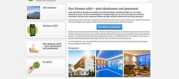 Verbrauchervoting 2018 Gewinnspiel Reise und Einkaufsgutscheine