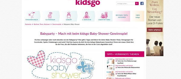 kidsgo Gewinnspiel Babyparty Aktion für Schwangere