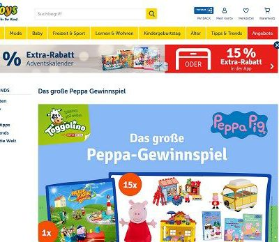 myToys Gewinnspiel Peppa Pig Produktpakete Spielzeuge