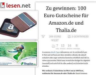 Amazon oder Thalia Gutscheine Gewinnspiel lesen.net