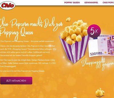 Chio Popcorn Gewinnspiel 5 mal 500 Euro Shoppinggeld gewinnen