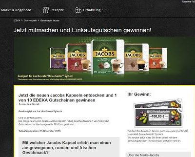 Edeka und Jacobs Kaffee Gewinnspiel Einkaufsgutscheine gewinnen
