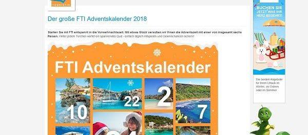 FTI Adventskalender Gewinnspiel 2018 Reisen gewinnen
