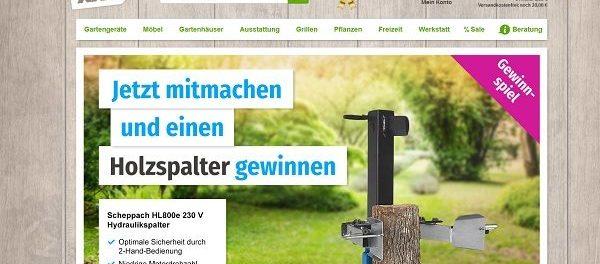 GartenXXL Gewinnspiel Scheppach Holzspalter