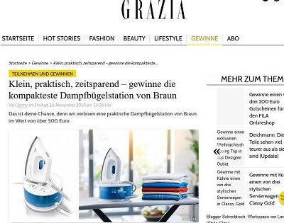Grazia Magazin Gewinnspiel Braun Dampfbügelstation