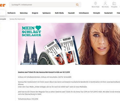Müller Drogerien Gewinnspiel Vanessa Mai Konzert Besuch