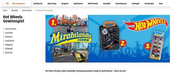 Müller Gewinnspiel HotWheels Freizeitpark Familienwochenende